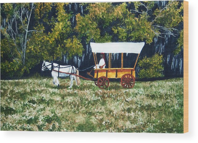 Fort Toulouse Wood Print featuring the painting Fort Toulouse Heading Back To The Fort by Beth Parrish