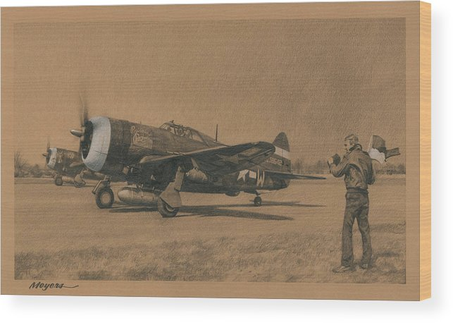 P-47 Wood Print featuring the drawing Fortune Favors The Bold by Wade Meyers