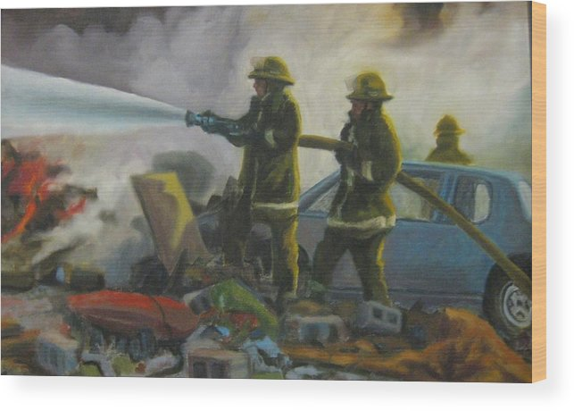 Firefighters Wood Print featuring the painting Garage Fire by John Malone