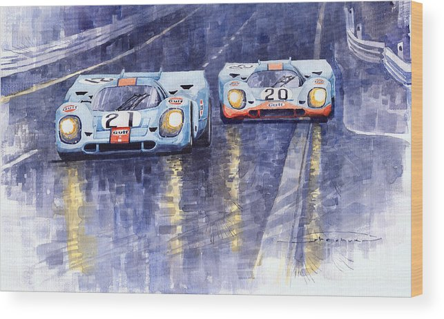 Watercolour Wood Print featuring the painting Gulf-porsche 917 K Spa Francorchamps 1970 by Yuriy Shevchuk