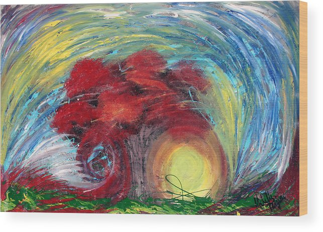 The Tree Wood Print featuring the painting Havoc Winds And Strong Tree by Michelle Teague
