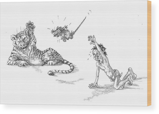 Life Of Pi Wood Print featuring the drawing He Tossed The Poor Rat To It by Yvonne Ayoub