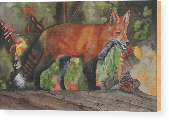 Fox Wood Print featuring the painting Hiding In Plain Sight by Jean Blackmer