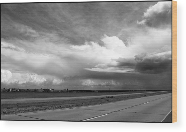 Black And White Wood Print featuring the photograph Highway 5 Clouds by John Norman Stewart