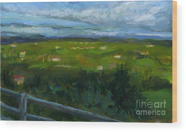 Landscape Wood Print featuring the painting Italy005 Somewhere In Tuscany by Silvana Siudut