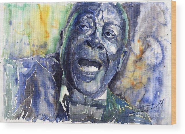 Jazz Wood Print featuring the painting Jazz B.b.king 04 Blue by Yuriy Shevchuk