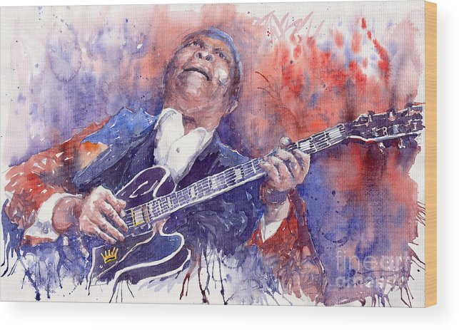 Jazz Wood Print featuring the painting Jazz B B King 05 Red by Yuriy Shevchuk