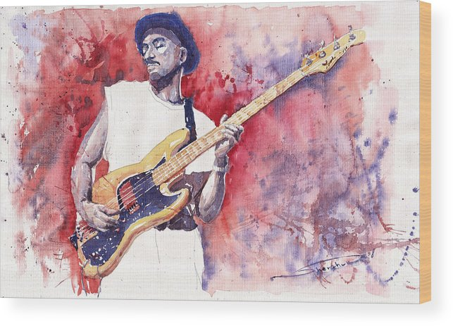 Jazz Wood Print featuring the painting Jazz Guitarist Marcus Miller Red by Yuriy Shevchuk