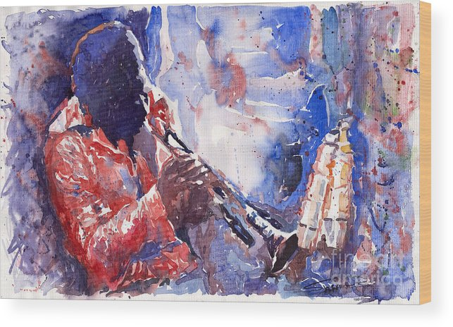 Jazz Wood Print featuring the painting Jazz Miles Davis 15 by Yuriy Shevchuk