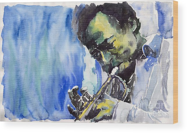 Wood Print featuring the painting Jazz Miles Davis 5 by Yuriy Shevchuk