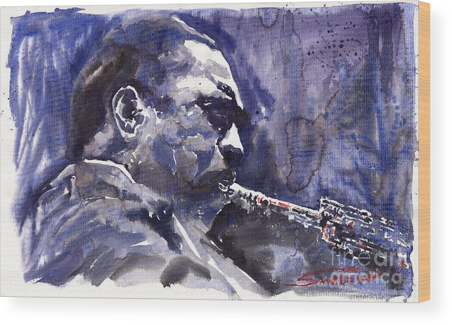 Jazz Wood Print featuring the painting Jazz Saxophonist John Coltrane 01 by Yuriy Shevchuk