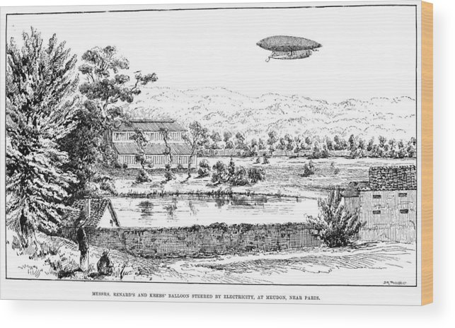 1884 Wood Print featuring the photograph La France Airship, 1884 by Granger