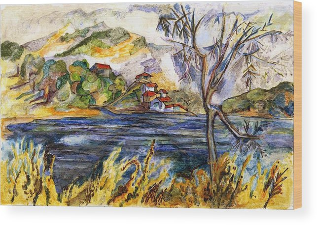 Lake Casitas Wood Print featuring the painting Lake Casitas IIi by Lily Hymen