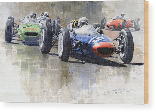 Automotive Wood Print featuring the painting Lola Lotus Cooper Ferrari Datch Gp 1962 by Yuriy Shevchuk
