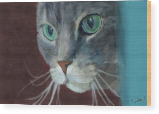 Cat Wood Print featuring the painting Lullabella by Jennifer Hickey