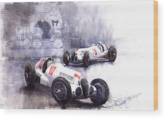 Watercolour Wood Print featuring the painting Mercedes Benz W 125 1938 by Yuriy Shevchuk