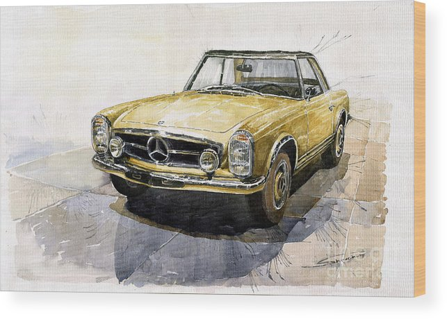Auto Wood Print featuring the painting Mercedes Benz W113 Pagoda by Yuriy Shevchuk