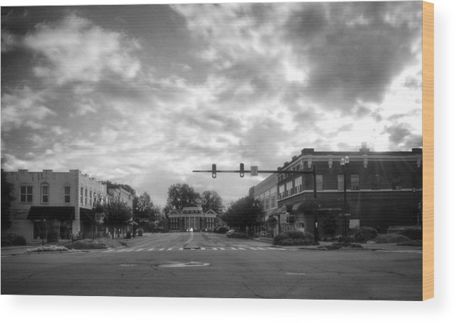 Murphy Wood Print featuring the photograph Morning In Murphy North Carolina In Black And White by Greg Mimbs