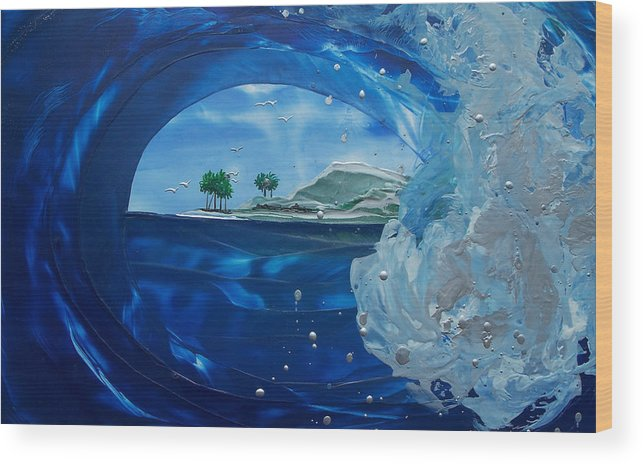 Wave Wood Print featuring the painting North Shore Window Barrel Right by Danita Cole