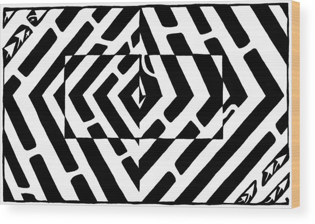 Optical Illusion Wood Print featuring the drawing Optical Illusion Maze Of Floating Box by Yonatan Frimer Maze Artist
