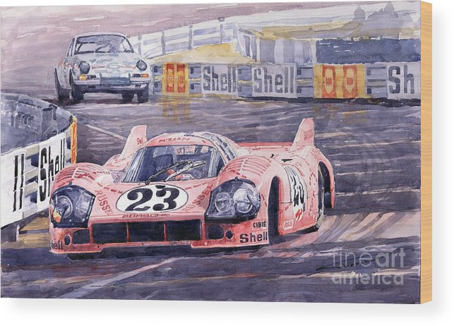 Watercolor Wood Print featuring the painting Porsche 917-20 Pink Pig Le Mans 1971 Joest Reinhold by Yuriy Shevchuk