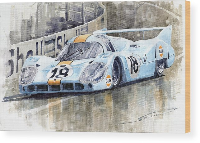 Watercolor Wood Print featuring the painting Porsche 917 Lh 24 Le Mans 1971 Rodriguez Oliver by Yuriy Shevchuk