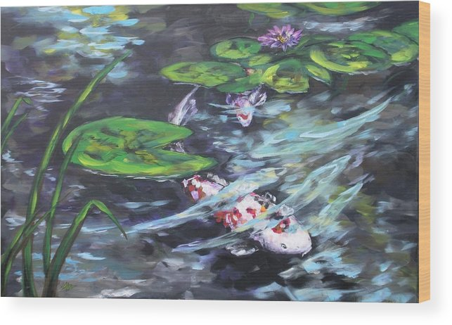 Koi Fish Water Waterscape Lily Pad Pond Reeds Nature Wood Print featuring the painting Ripple Rouser by Alan Scott Craig