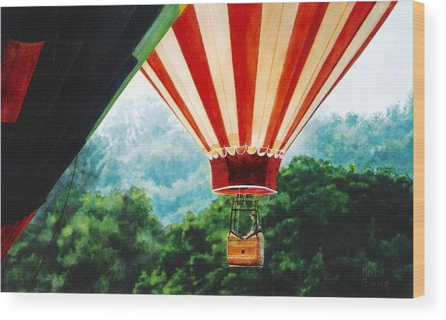 Balloons Wood Print featuring the painting Rising Mist by Keith Gantos