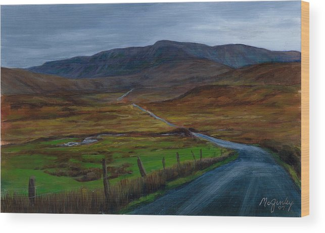 Landscape Wood Print featuring the painting Road To Glenveagh by Laurie McGinley