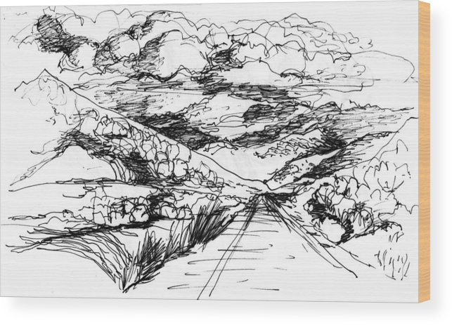 Wood Print featuring the drawing Road To Palmdale 1 by Lily Hymen