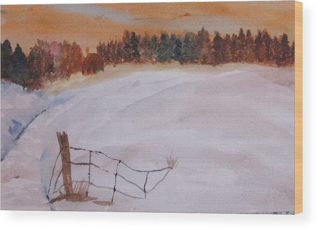 Snow Wood Print featuring the painting Snow Drifts by Trilby Cole