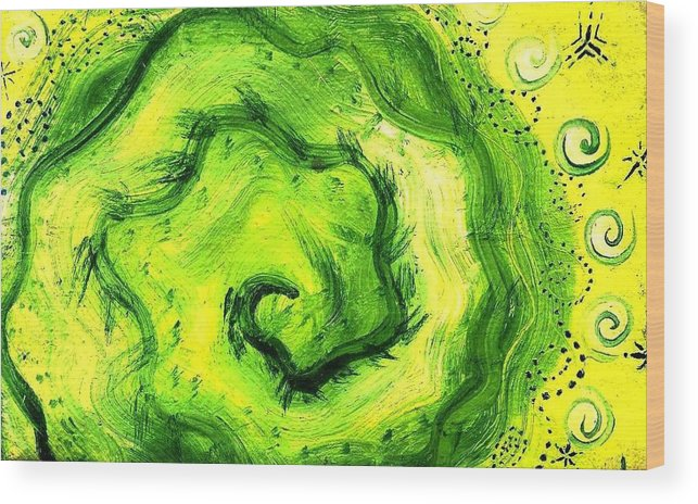 Green Wood Print featuring the painting Spiral Of The Heart by Chandelle Hazen