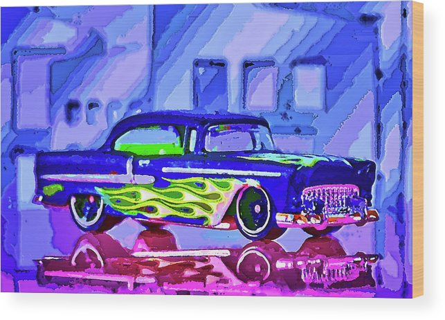 Street Cruiser Wood Print featuring the mixed media Street Cruiser - American Way Of Drive 2 by Jean-Louis Glineur alias DeVerviers