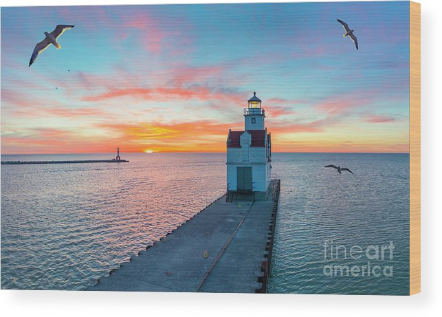 Above Wood Print featuring the photograph Sunrise Over Lake Michigan Scenic Harbor, Lighthouse With Seagulls. by James Brey
