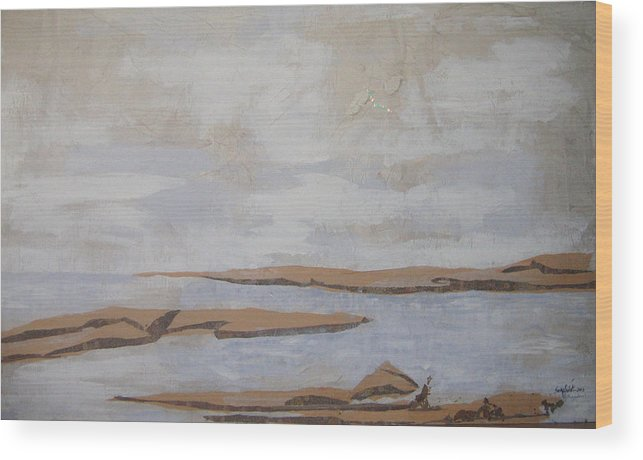 Water Wood Print featuring the mixed media The Beach by Helene Champaloux-Saraswati