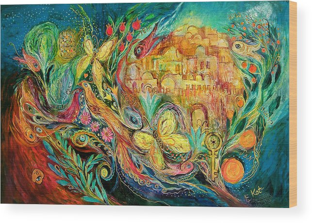 Original Wood Print featuring the painting The Jerusalem Key by Elena Kotliarker