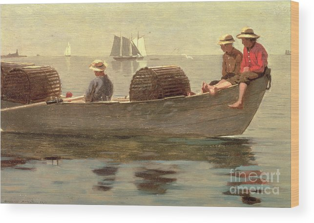 Boat Wood Print featuring the painting Three Boys In A Dory by Winslow Homer