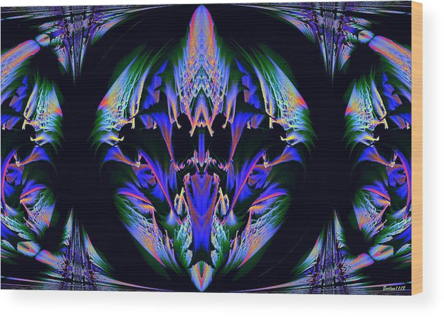 Digital Art Wood Print featuring the photograph Tribal Fractal by Evelyn Patrick