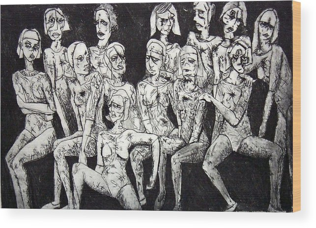Etching Wood Print featuring the print Ugly Girls by Thomas Valentine