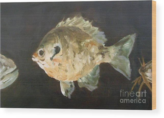 Fish Wood Print featuring the painting Uh-oh by Debbie Anderson