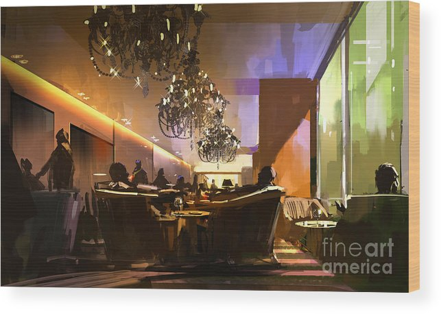 Color Wood Print featuring the digital art Digital Painting Showing Inside View Of by Tithi Luadthong