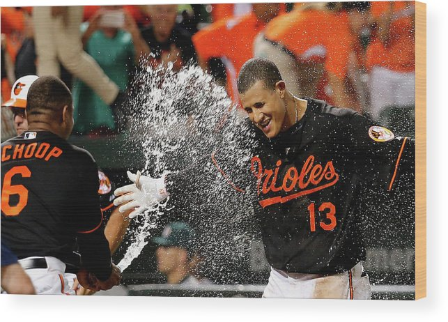 People Wood Print featuring the photograph Manny Machado And Jonathan Schoop by Rob Carr
