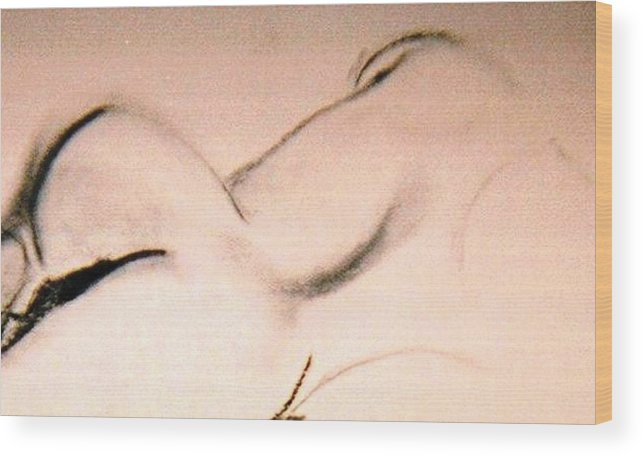 Figurative Wood Print featuring the drawing Open Curves by JuneFelicia Bennett