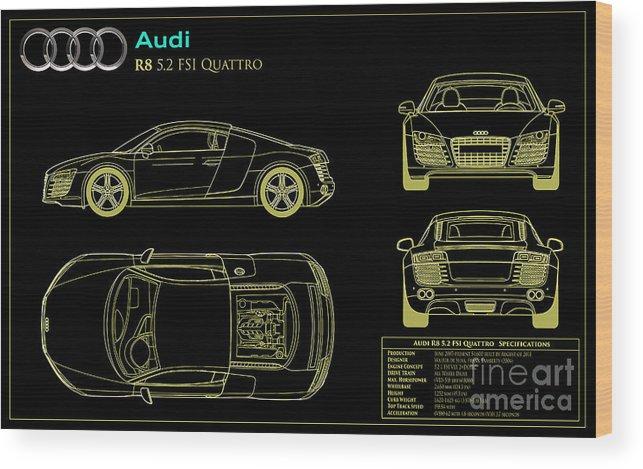 Audi R8 Blueprint Wood Print featuring the photograph Audi R8 Blueprint by Jon Neidert