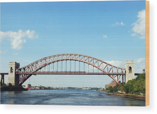 Hell Gate Bridge Wood Print featuring the photograph Hell Gate Bridge by Jim Poulos