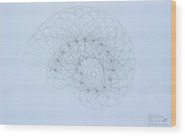 Jason Padgett Wood Print featuring the drawing Quantum Nautilus by Jason Padgett