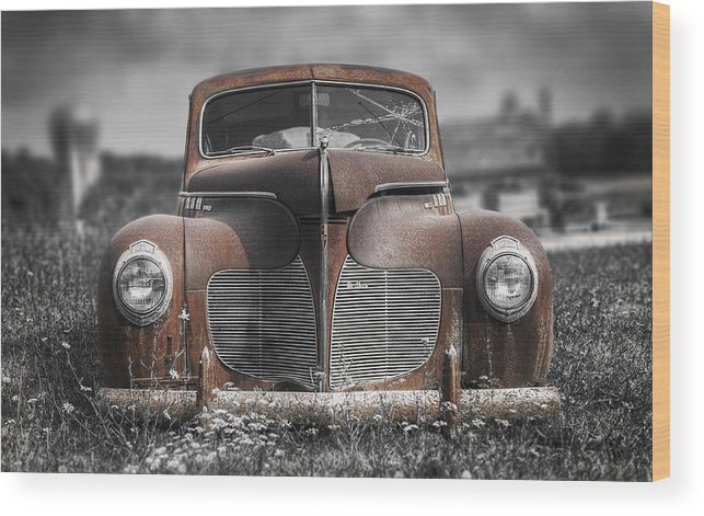 Desoto Wood Print featuring the photograph 1940 Desoto Deluxe With Spot Color by Scott Norris