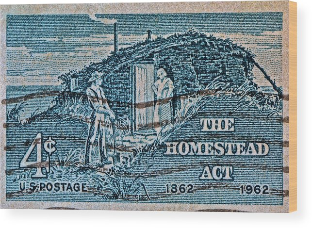 1962 Wood Print featuring the photograph 1962 Homestead Act Stamp by Bill Owen