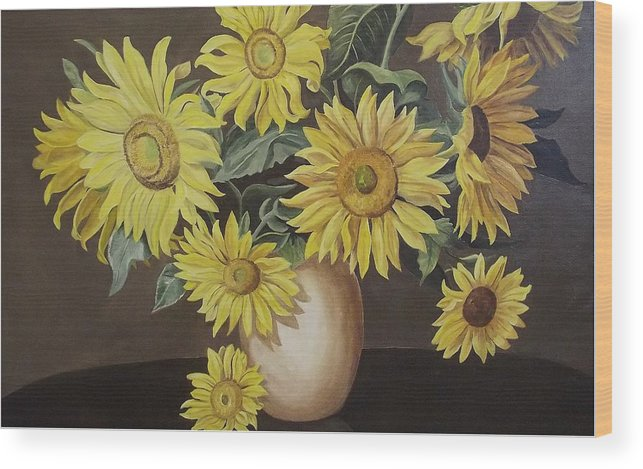 Flowers Wood Print featuring the painting Sunshine And Sunflowers by Wanda Dansereau