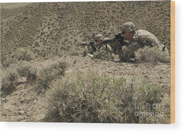 Afghanistan Wood Print featuring the photograph U.s. Soldiers Provide Security by Stocktrek Images